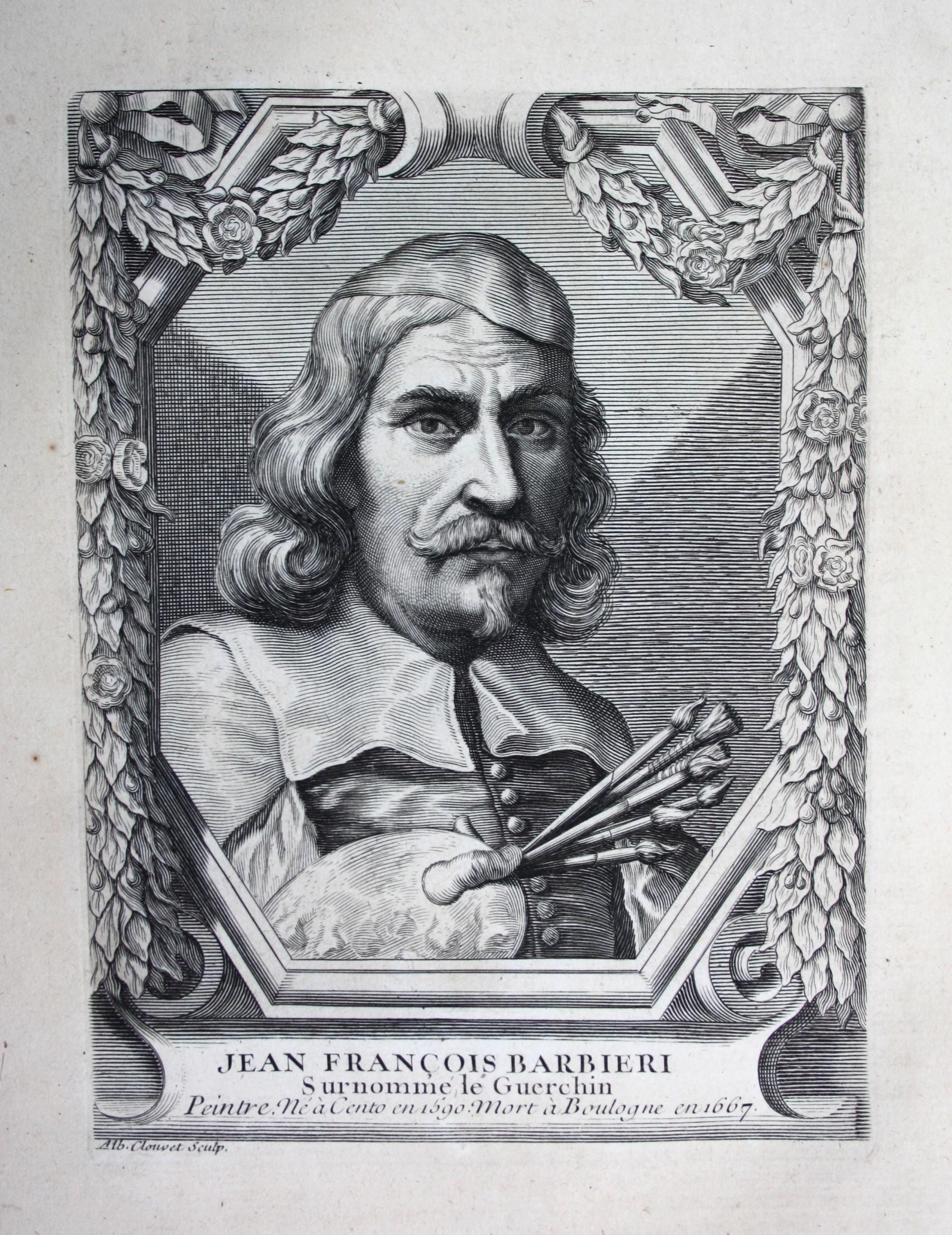 """""""Jean Francois Barbieri"""" - Giovanni Francesco Barbieri Guercino Maler painter Kupferstich Portrait engraving"""