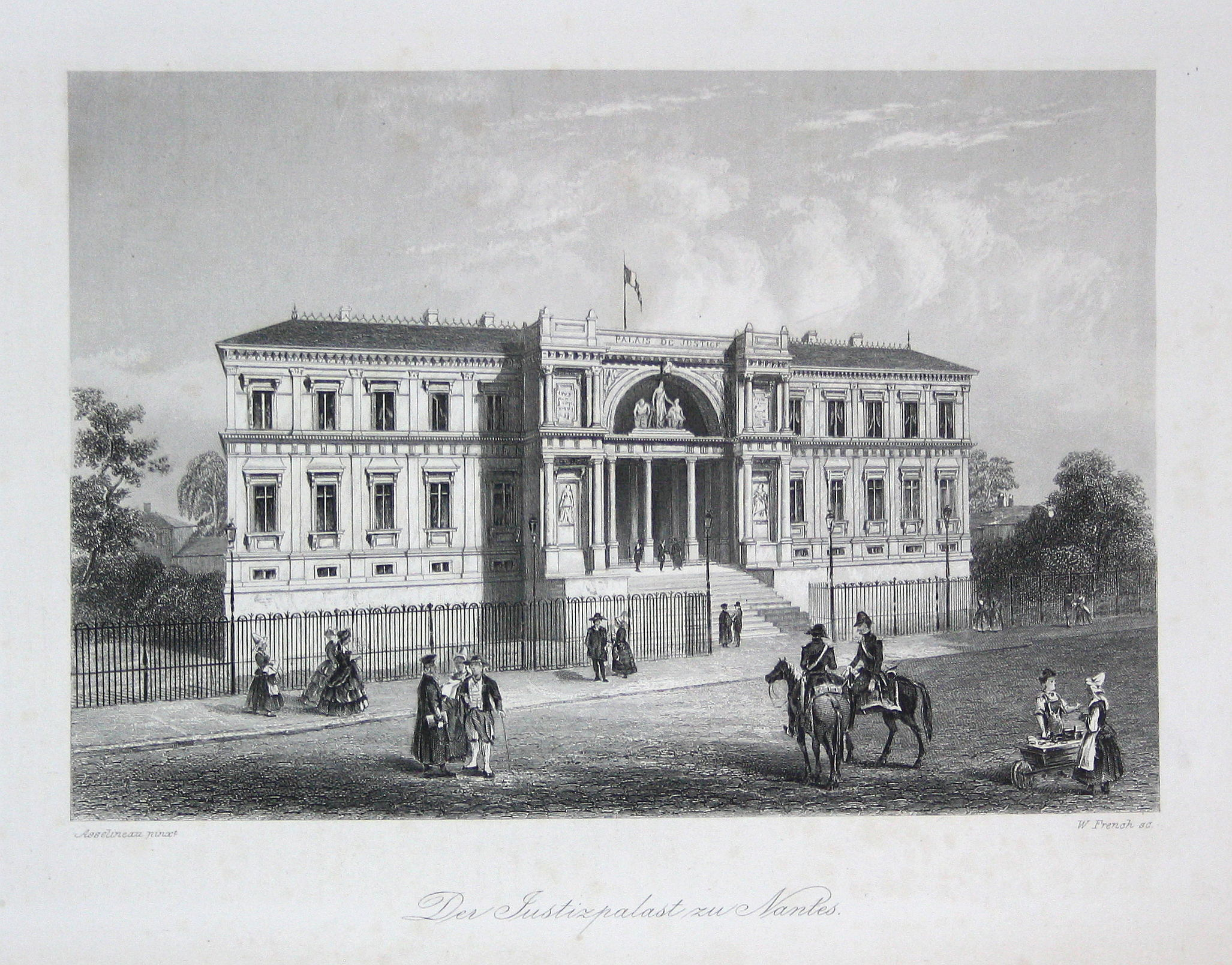 """Der Justizpalast zu Nantes"" - Nantes Justizpalast Justiz Frankreich France Stahlstich steel engraving Asselineau French"