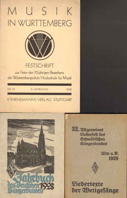 Musik in Württemberg. Festschrift zur Feier des 75jährigen Bestehens der Württembergischen Hochschule für Musik. Konvolut.