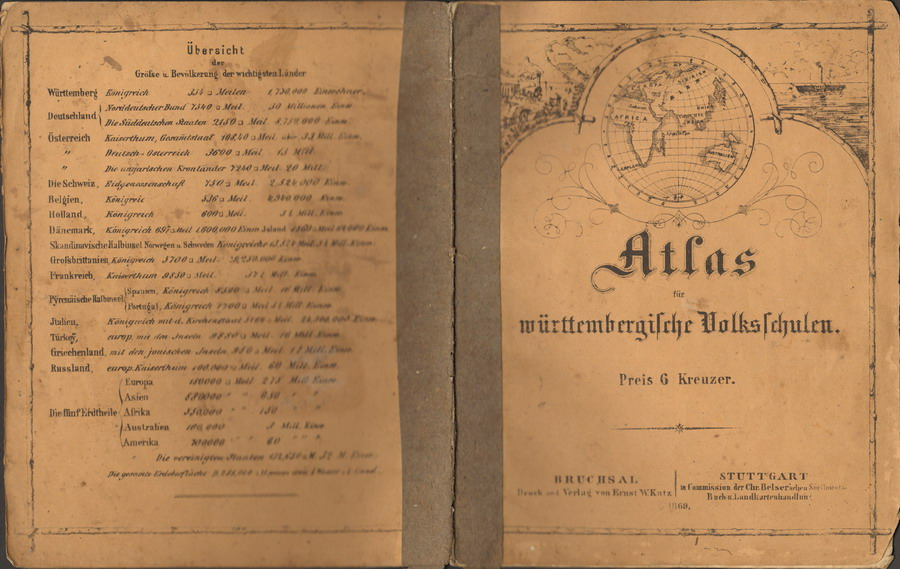 Atlas für württembergische Volksschulen. Preis 6 Kreuzer.
