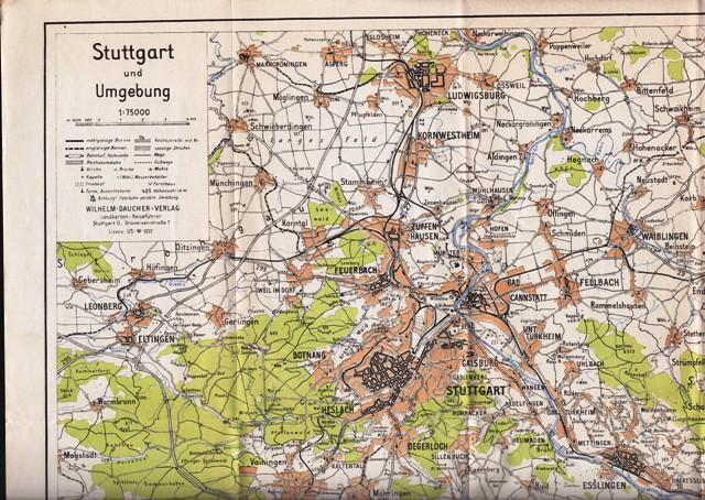 (Karte) Stuttgart und Umgebung, 1:75000.
