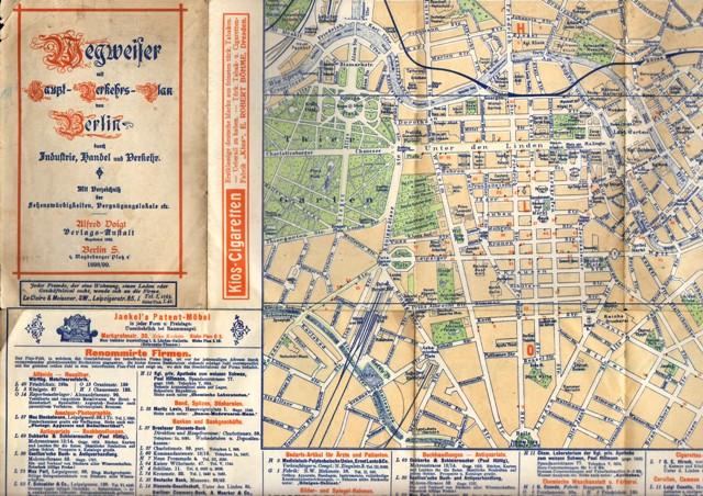 Wegweiser mit Haupt-Verkehrs-Plan von Berlin durch Industrie, Handel und Verkehr. Mit Verzeichniß der Sehenswürdigkeiten, Vergnügungslokale etc.