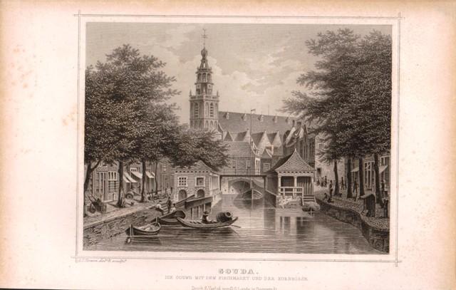 Stahlstich Niederlande: Gouda. Die Gouwe mit dem Fischmarkt und der Kornbörse.