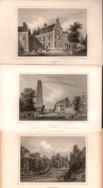 3 Stahlstiche Niederlande: Utrecht. Gouvernement. Das Meteorologische Institut. Der Dom-Thurm.