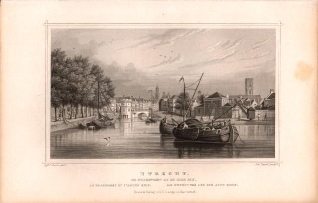 Stahlstich Niederlande: Utrecht. Das Weerdthor und der Alte Rhein.