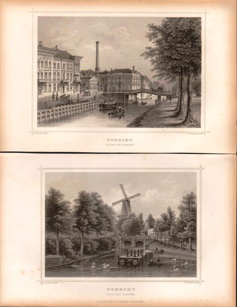 2 Stahlstiche Niederlande: Utrecht. Catharijne - Barriere (und) Tolsteeg - Barriere.