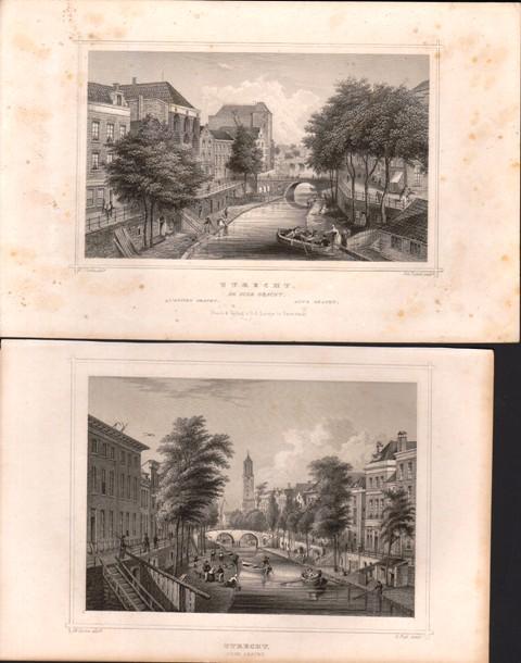 2 Stahlstiche Niederlande: Utrecht. Alte Gracht (und) Oude Gracht.