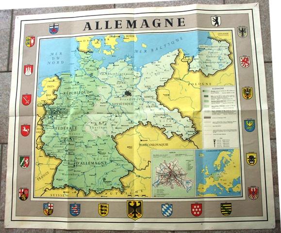 """Landkarte """"Allemagne"""". (Mit den Besatzungszonen)."""