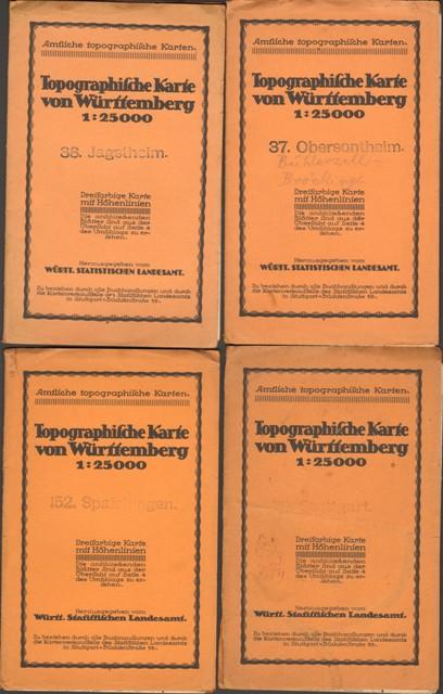 Amtliche topographische Karten von Württemberg: Nr. 37: Obersontheim, Nr. 38: Jagstheim, Nr. 70: Stuttgart, Nr. 152: Spaichingen.