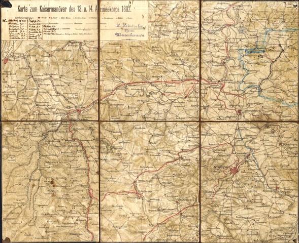 Karte zum Kaisermanöver des 13. u. 14. Armeekorps 1892.