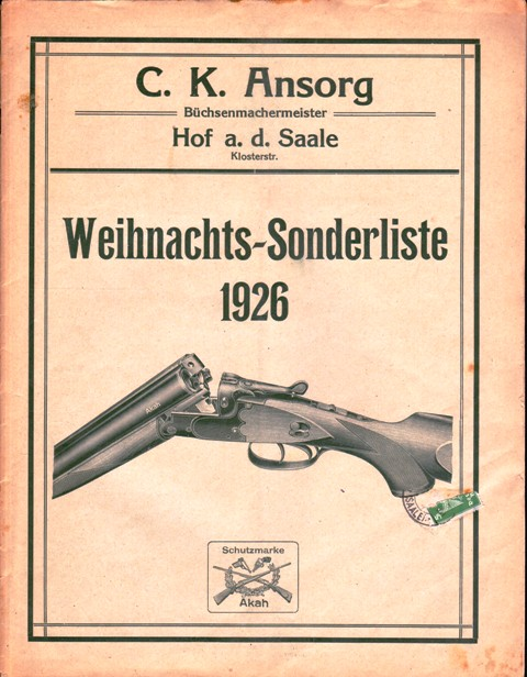 Weihnachts-Sonderliste 1926. (Büchsen, Jagdgewehre).