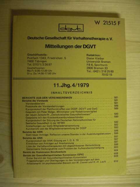 Mitteilungen der DGVT. 11 Jahrgang 4/1979. Zum Inhalt senden wir gerne weiter Fotos und Informationen.