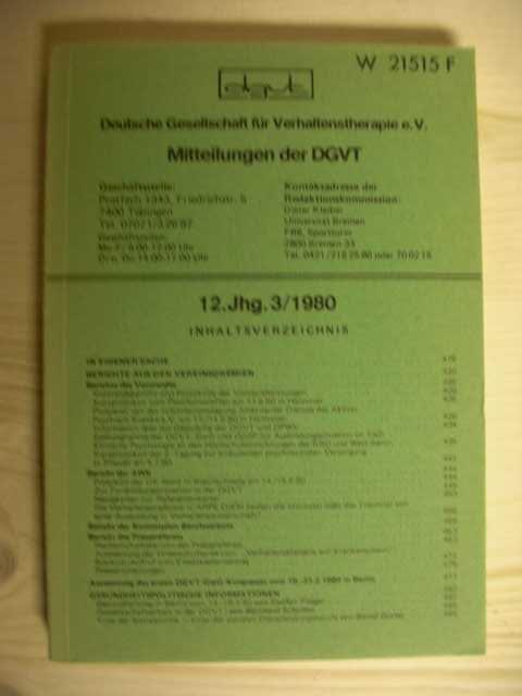 Mitteilungen der DGVT. 12 Jahrgang 3/1980. Zum Inhalt senden wir gerne weiter Fotos und Informationen.