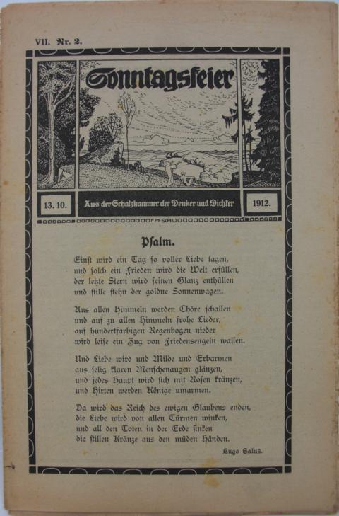 Sonntagsfeier : Schatzkammer der Denker und Dichter Psalm. erste Auflage : Band VII. Nr.2  13.10.1912.