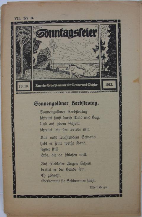 Sonntagsfeier : Schatzkammer der Denker und Dichter Sonnengoldner Herbstag erste Auflage : Band VII. Nr.3  20.10.1912.