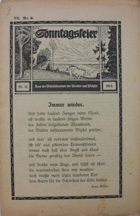 Sonntagsfeier : Schatzkammer der Denker und Dichter Immer wieder. erste Auflage : Band VII. Nr.6  10.11.1912.