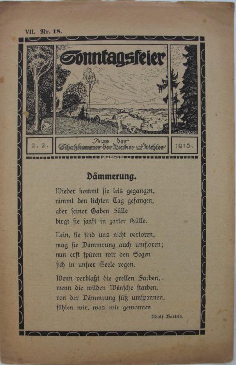 Sonntagsfeier : Schatzkammer der Denker und Dichter Dämmerung. erste Auflage : Band VII. Nr.18  02.02.1913