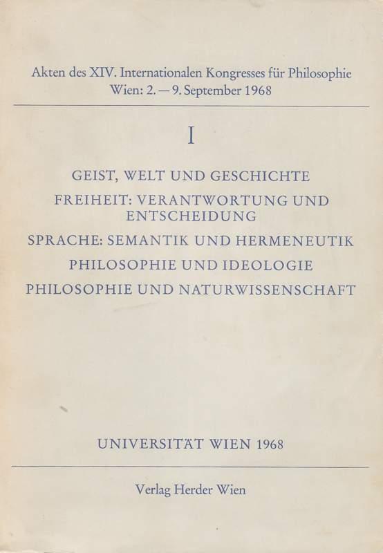 Akten des XIV. Internationalen Kongresses für Philosophie.