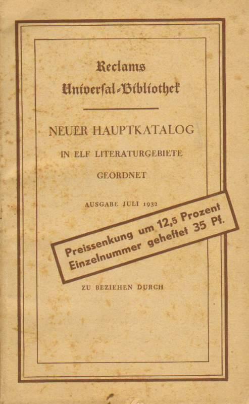 Neuer Hauptkatalog in elf Literaturgebiete geordnet.