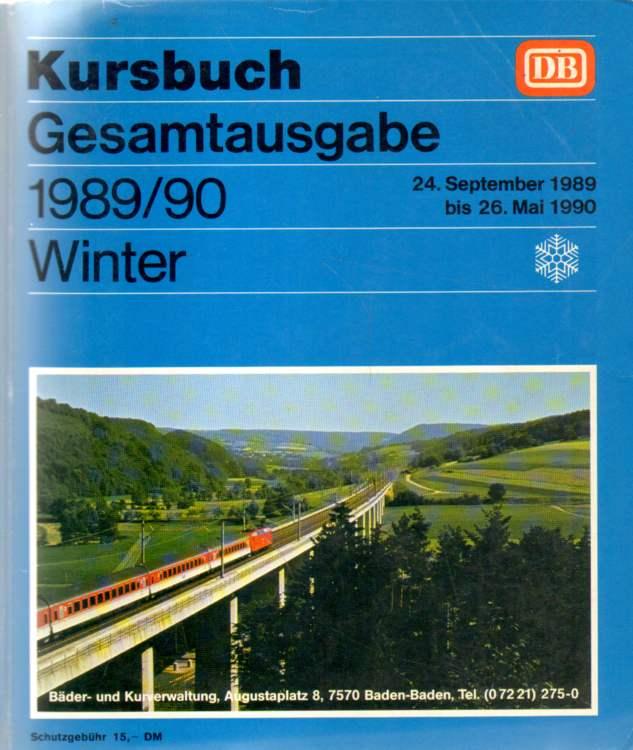 Deutsche Bundesbahn Allgemeines Kursbuch Winter, 24. September 1989 bis 26. Mai 1990.