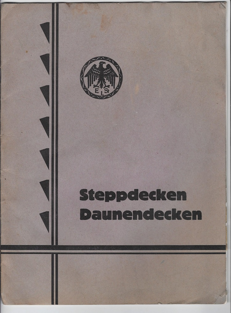Steppdecken - Daunendecken. Produktkatalog und Preisliste Emil Stephan, Leipzig.