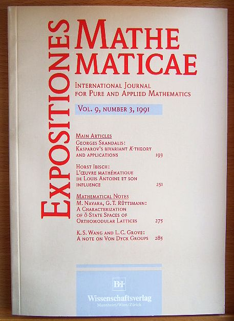 Expositiones Mathematicae: International Journal for pure and applied mathematics Vol.9, Number 3, 1991