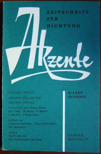 Akzente: Zeitschrift für Dichtung 6/1959,  Dezember.