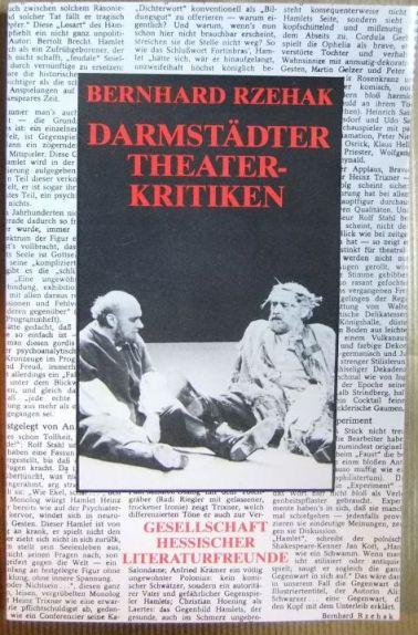 Darmstädter Theaterkritiken. hrsg. von Hannelore Rieg / Hessische Beiträge zur deutschen Literatur