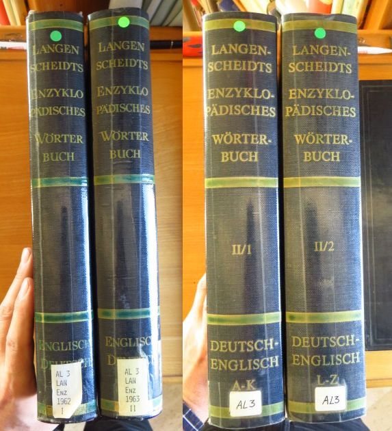 Langenscheidts enzyklopädisches Wörterbuch der englischen und deutschen Sprache; Teil 1., Englisch-deutsch. Bd. 1., A - M und Bd. 2., N - Z // Teil 2., Deutsch-Englisch. Bd. 1., A - K und Bd.2., L - Z; Völlige Neubearb. 1962, 1. Aufl.