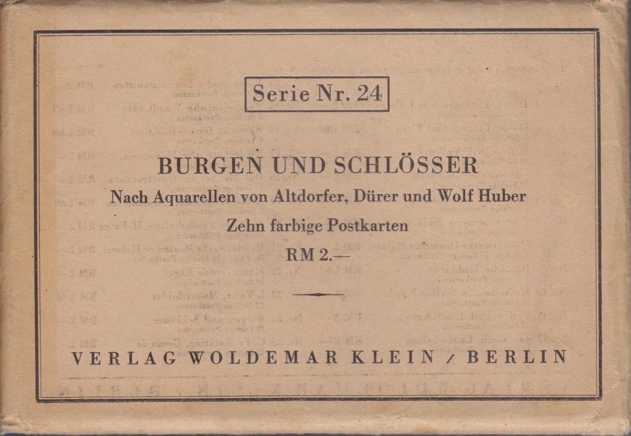 Postkarten- Serie Nr. 24 : Burgen und Schlösser. Nach Aquarellen von Altdorfer, Dürer und Wolf Huber. Zehn farbige Postkarten.