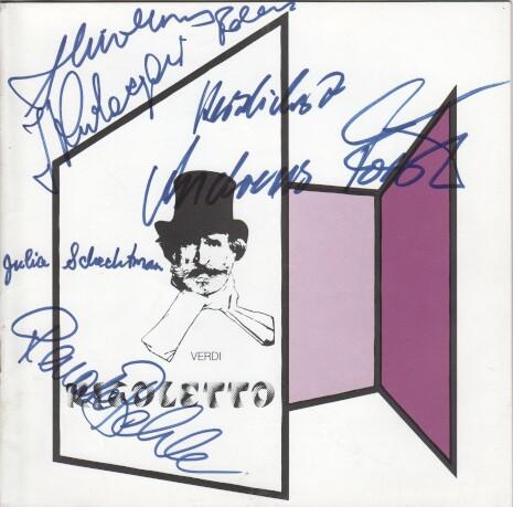 Programmheft Rigoletto von Verdi. Signiert von Andreas Förster (Rigoletto), Julia Schlechtman (Gilda), Rosina Bacher (Die Gräfin), Jerzy Kulczycki (Sparafucile)