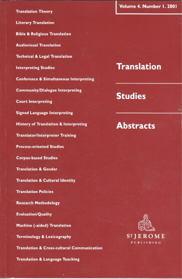 Translation Studies Abstracts Vol. 4 - No. 1