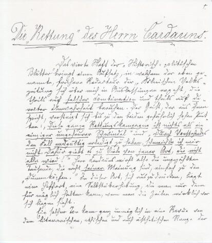 """Die """"Rettung"""" des Herrn Cardauns : ein Flugblatt ; Faksimile der Handschrift und des Erstdrucks. Karl Mays Werke Supplemente Band 1. Nummeriertes Exemplar No. 307."""