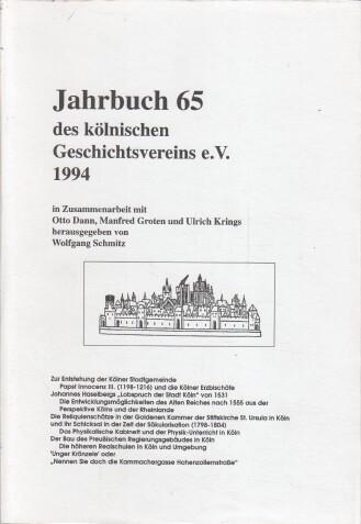 Schmitz, Wolfgang (Hrsg.): Jahrbuch des Kölnischen Geschichtsvereins. Band 65.