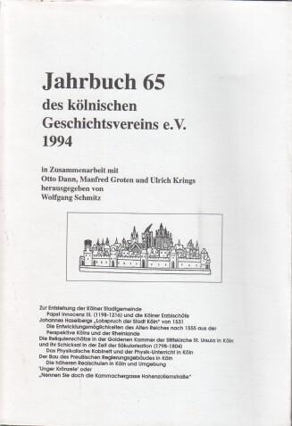 Schmitz, Wolfgang (Hrsg.): Jahrbuch des Kölnischen Geschichtsvereins Band 65 : 1994.