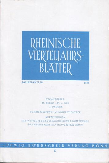 Rheinische Vierteljahrsblätter. Jahrgang 50.