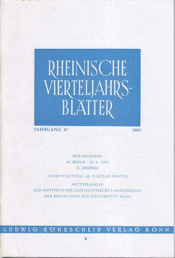 Rheinische Vierteljahrsblätter. Jahrgang 47.