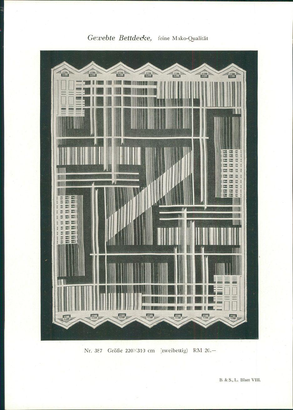 1928 - Druck nach Photographie: Gewebte Bettdecke, feine Mako-Qualität Nr. 387 Größe 220x310 cm (zweibettig) RM 20,-. B. & S. L. Blatt VIII.