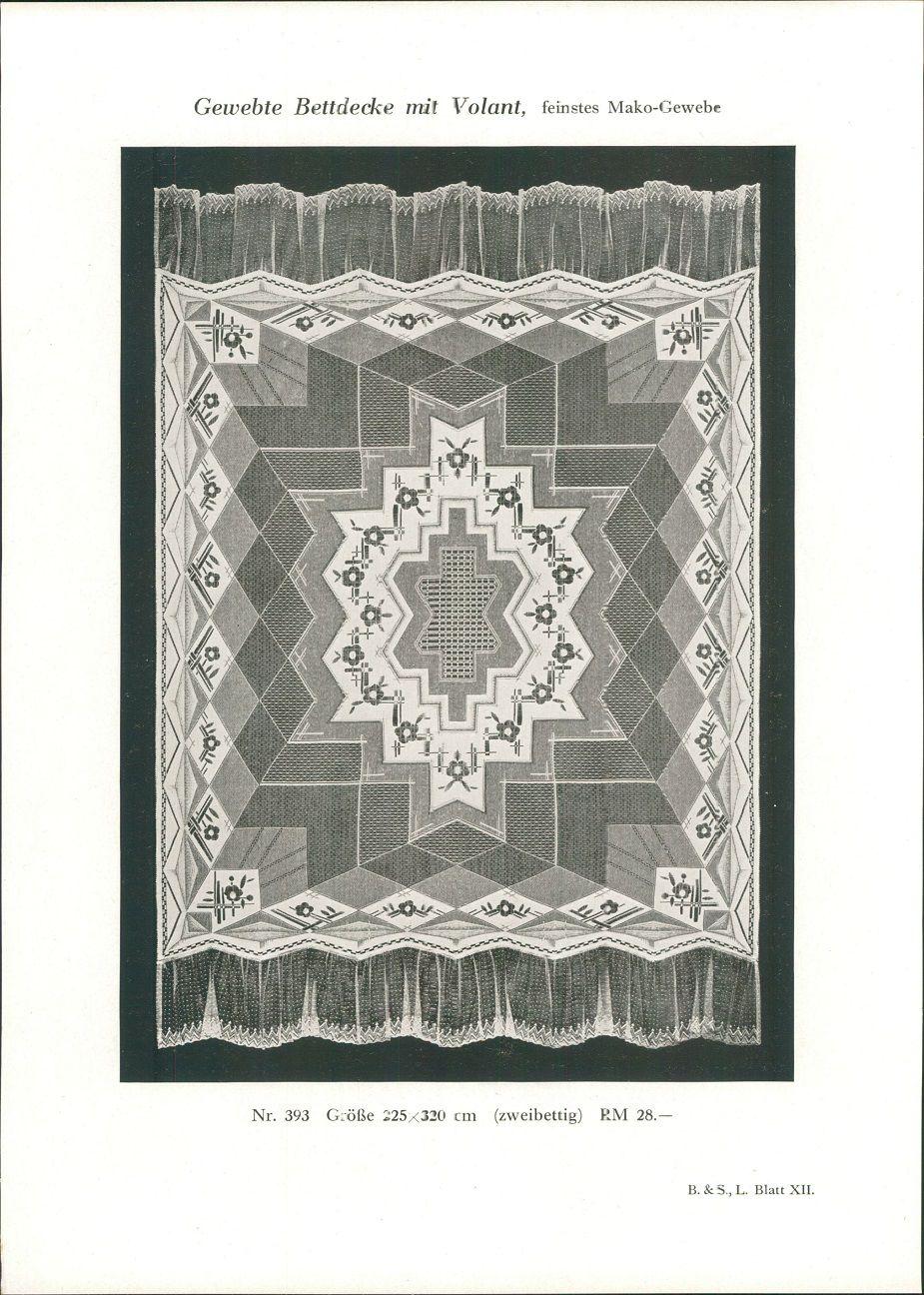1928 - Druck nach Photographie: Gewebte Bettdecke mit Volant, feinstes Mako-Gewebe Nr. 393: Größe 225x320 cm (zweibettig) RM 28.-. B. & S. L. Blatt XII.