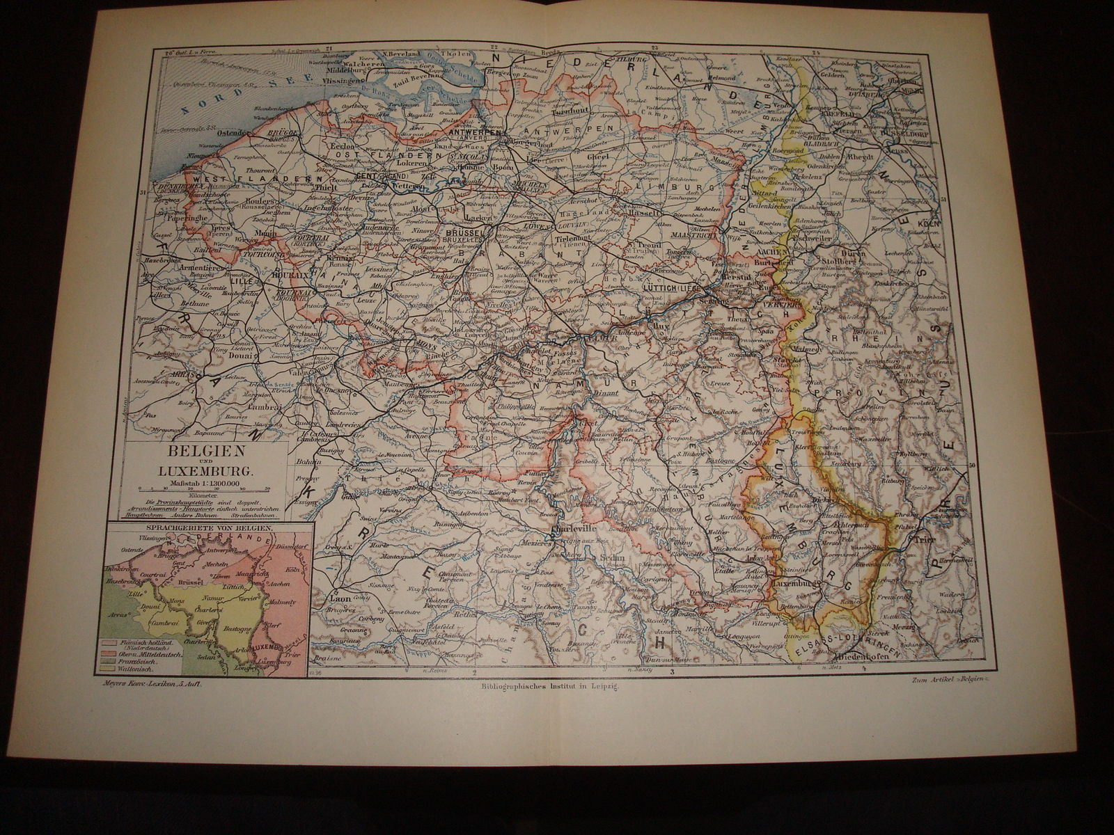 Holzschnitt - Holzstich - 1899 : Belgien und Luxemburg 1 : 1.300.000 Map Karte. Koloriert.