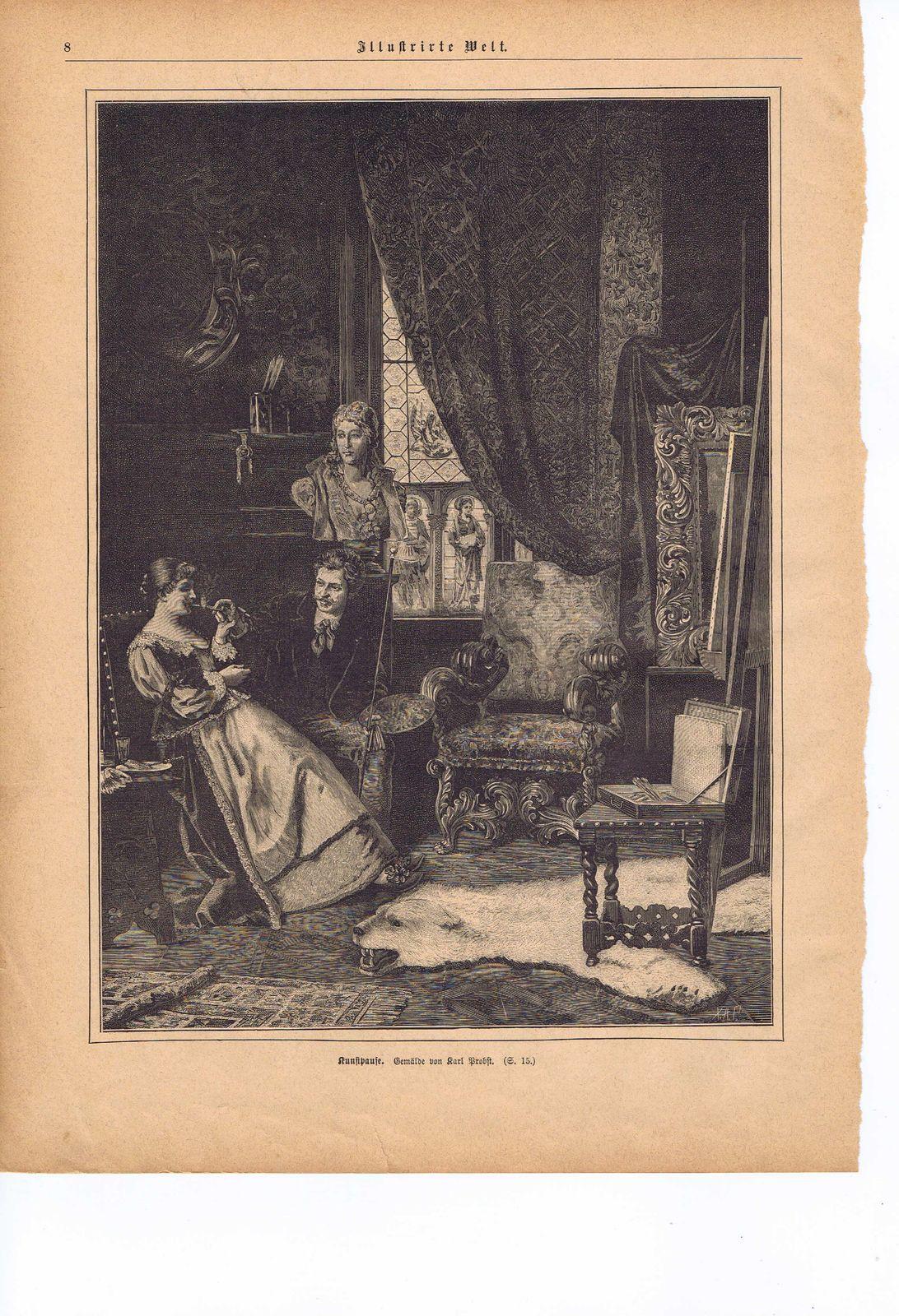 KDA12 - Stich - 1889 - Kunstpause Gemälde von Karl Probst - kleiner Riss unten