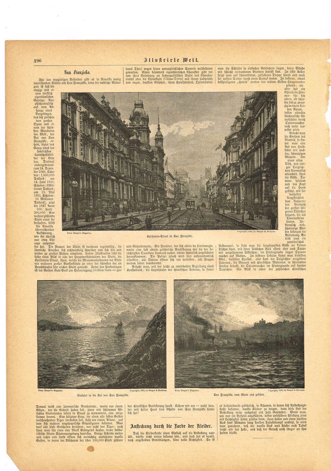 KDA147 - Stich Druck - 1889 - Kalifornia Street in San Franzisko - Einfahrt in die Bai von San Franzisko - San Franzisko vom Meere aus gesehen - San Francisco