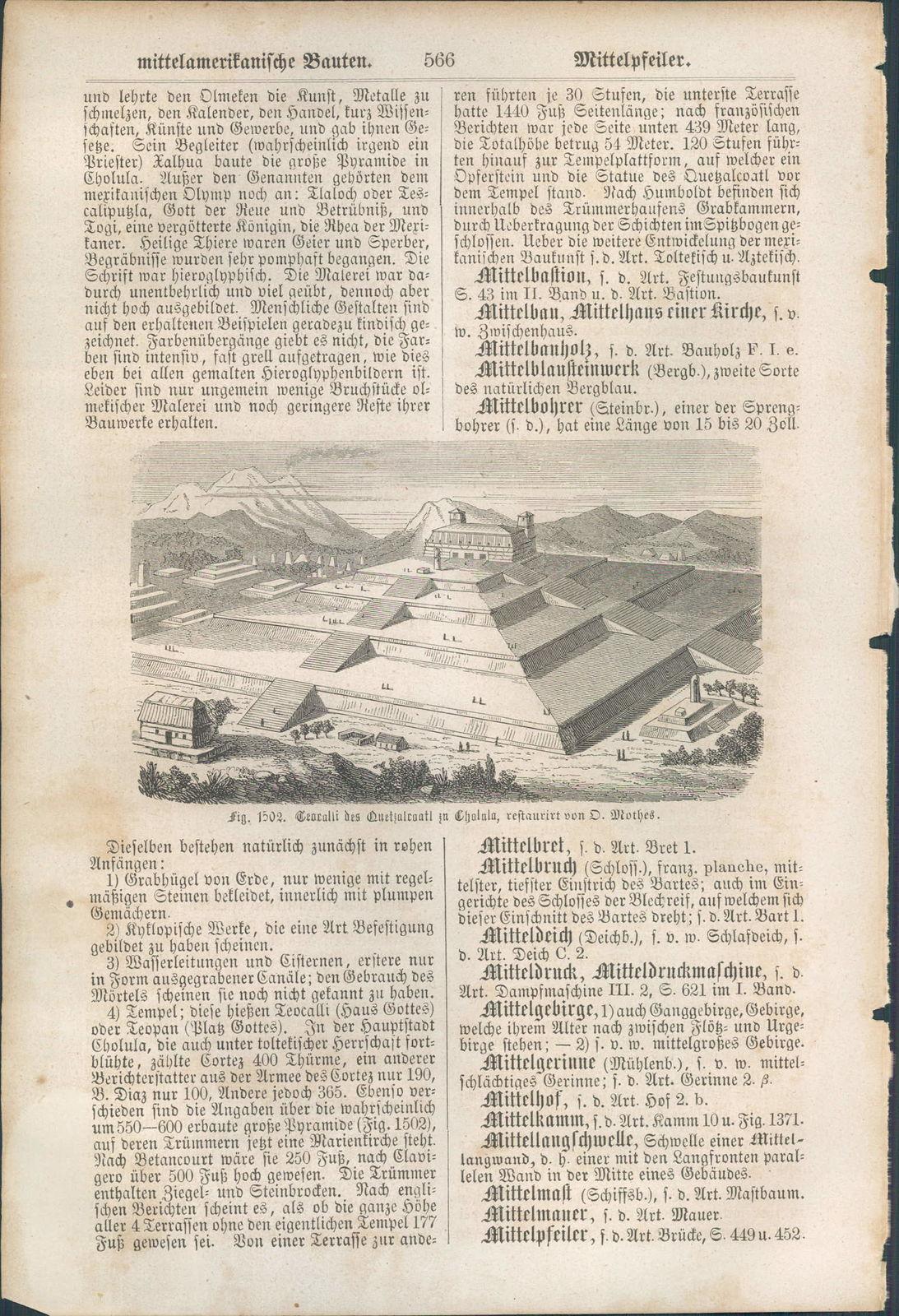 KD3574 - Stich Druck - 1866 - Ceoralli des Quetzalcoatl zu Cholala