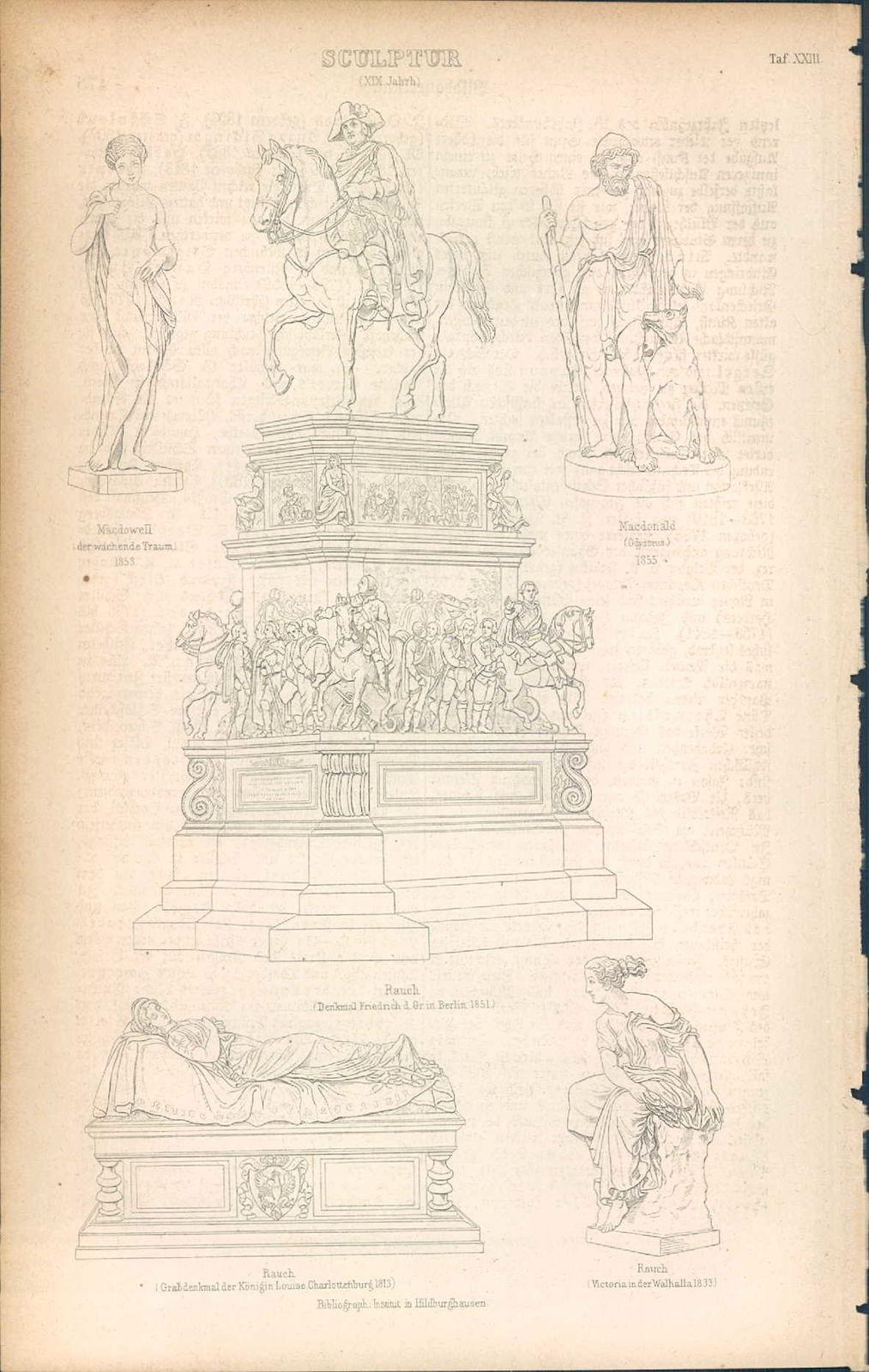 KD4641 - Stich Druck - 1871 - Sculptur XIX Jahrhundert - 5 Ansichten.