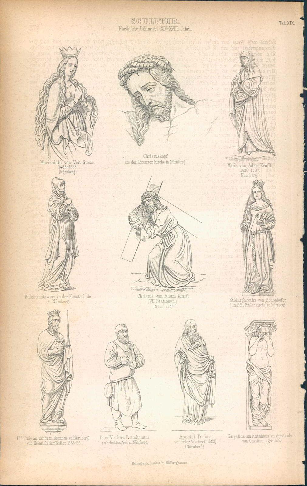 KD4645 - Stich Druck - 1871 - Sculptur - Nordische Bildnerei XIV-XVIII Jahrhundert - 10 Ansichten