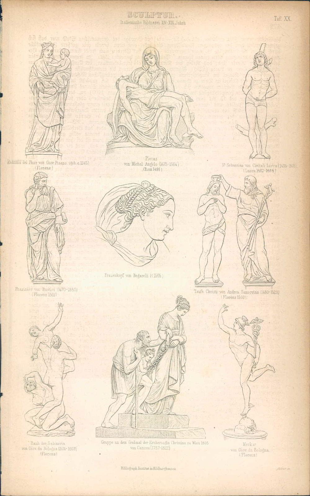 KD4646 - Stich Druck - 1871 - Sculptur italienische Bildnerei XIV - XIX Jahrhundert 9 Ansichten