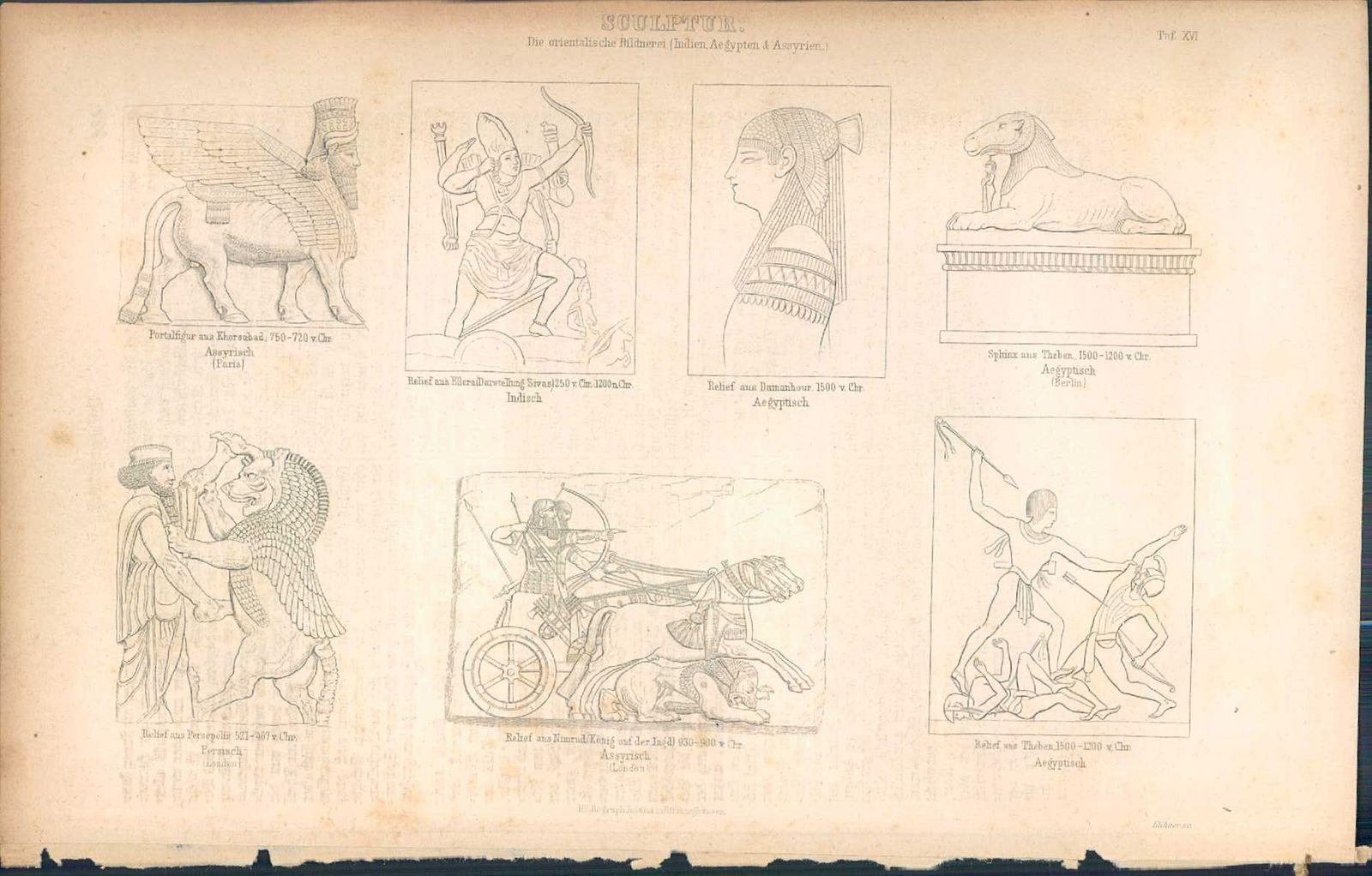 KD4647 - Stich Druck - 1871 - Sculptur die orientalische Bildnerei 7 Ansichten: