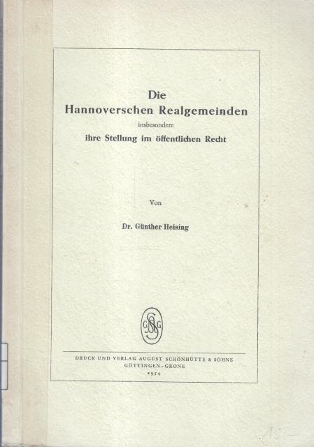 Die Hannoverschen Realgemeinden, insbesondere ihre Stellung im öffentlichen Recht