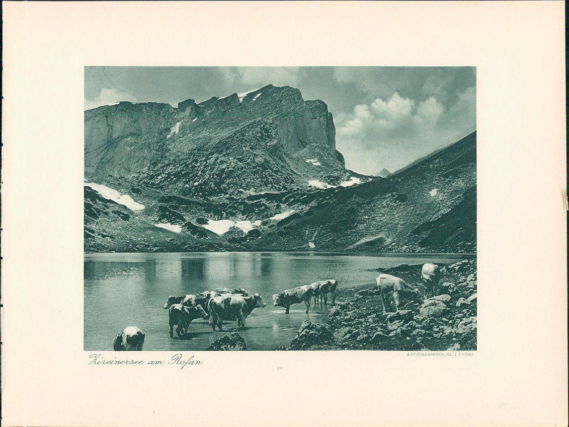 Kupfertiefdruck : Achensee. Zireinersee am Rofan. Doppeltafel nach Photographien. Tirol.