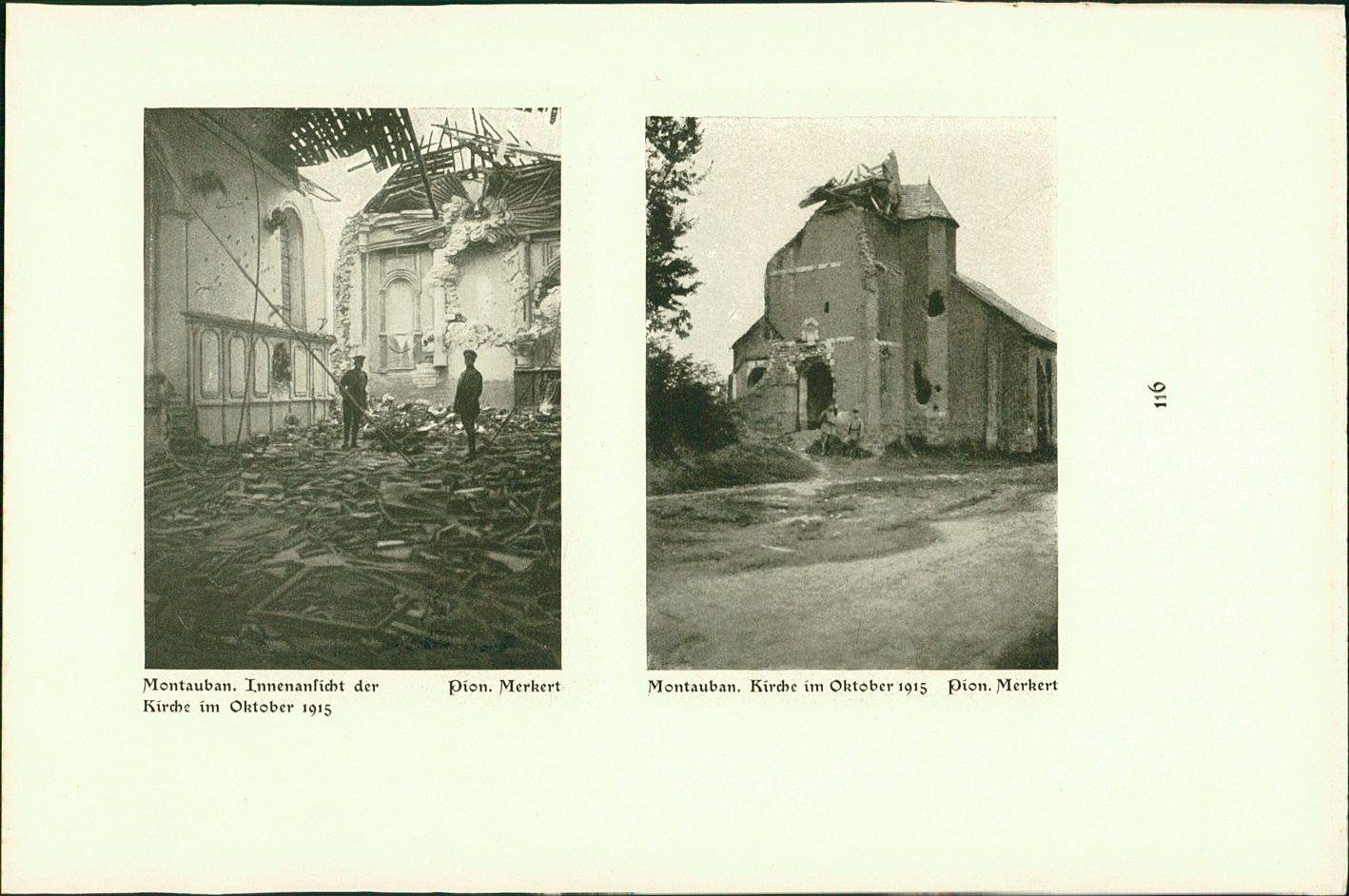 Montauban : Kirche Oktober 1915 und Innenansicht. Monchy-au Bois : Winter 1915-1916. Musk. Brombach, Pion. Merkert. Stereotyp-Druck nach Photographien der Angehörigen des Reservekorps.